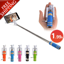 Portable folding Wired Mini self Selfie Sticks For iPhone Samsung LG Sony XiaoMi selfie Built-in Shutter Camera Monopod Tripod
