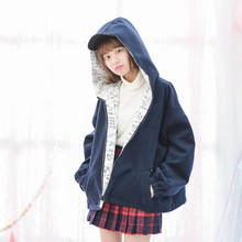 M14-2017 New Both Sides Wear Female Woolen Coat Navy Blue or White on Black Stationery Graffiti Personality Blends Coat(China)