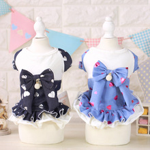 Summer Bowknot Dog Dresses With Diamond Denim Dog Skirt Dog Skirt Cotton Princess Dress Summer Dress Puppy Apparel For Dog WP692(China)
