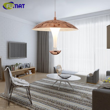 FUMAT LED Mushroom Pendant Light Nordic Modern Living Room Light Fixture Bedroom Restaurant Designer Pendant Lamp Rose Gold