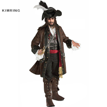 Kimring Caribbean Pirate Halloween Costume Adult Man Grand Heritage Collection Deluxe Jack Sparrow Costume Carnival Cosplay
