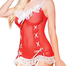 Christmas Eve Santa Claus red Bra straps sleeveless lace hot Christmas pajamas(China)