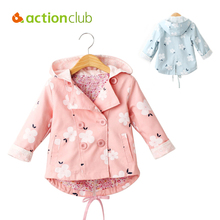 Actionclub Baby Girls Outerwear Kids Spring Autumn Jacket Trench Infant Coat Floral Print Clothes Girls Hoody Children Clothing