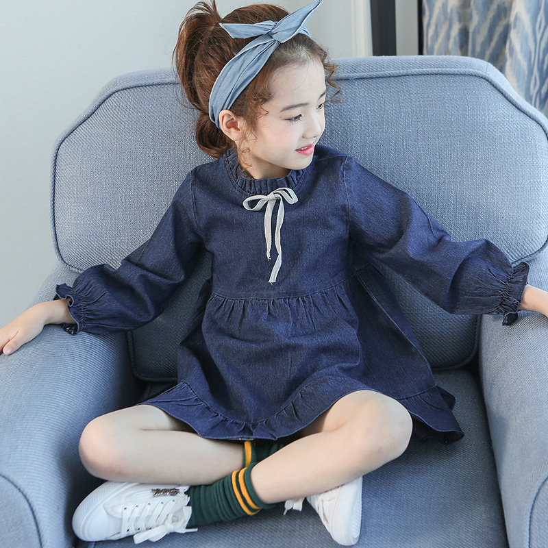 4 5 6 7 8 9 10 11 12 13 Years Denim Dress Autumn Girls School Wear Long Sleeve Kids Clothes Harem Casual Children Clothing<br>