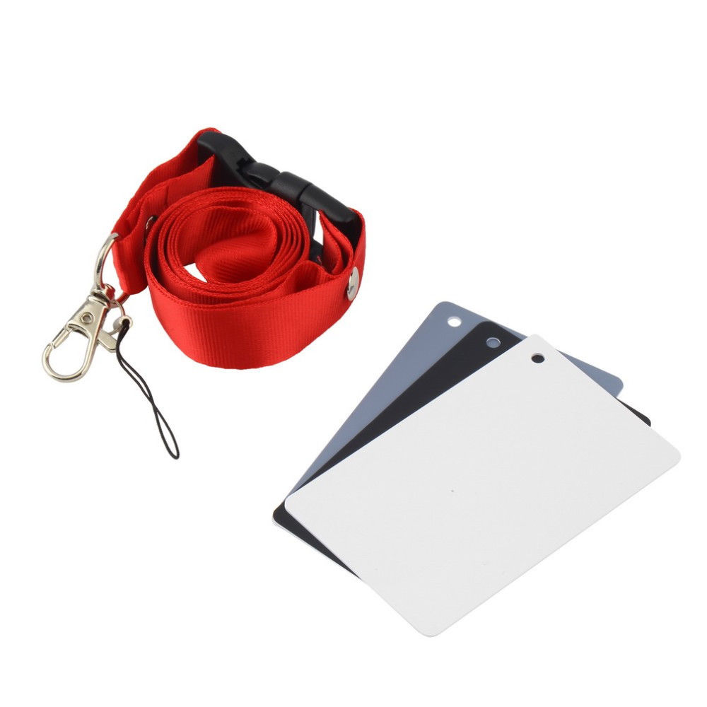 3 in 1 White Black Gray Balance Digital Card kit Pocket-Size 18% Gray Card with Neck Strap for Digital Photography3