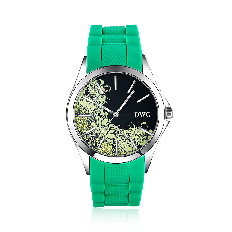 Luxury Brand Wholesale Quartz Watches Green Silicone Strap Unique Watch Case Beautiful Flowers Dress Women Men Wristwatch Clock<br><br>Aliexpress