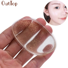 1PCS Novelty Silicone Puffs Anti-Sponge Makeup Applicator Leave Gold powder Clear Face Make Up Puff Beauty Tools(China)