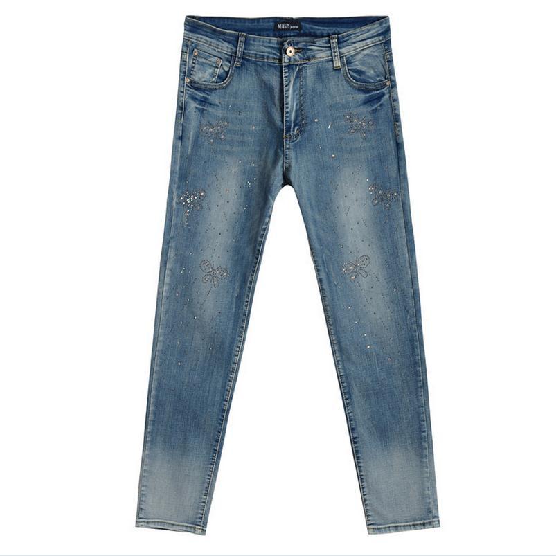 5XL plus size cotton jeans Pants 2017 new fashion women s beading bow pattern jeans jeans w1492 free shippingÎäåæäà è àêñåññóàðû<br><br>