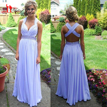 Lavender Prom Dresses 2016 A-line Crisscross Straps Back Sweep Train Crystal Beads Waistband Chiffon Backless Formal Prom Gown