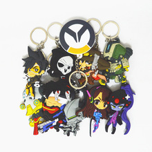 10 Styles PVC Over watch Keychain Game Tracer Reaper d va OW Key Chains Figure Pendant Key Ring Holder