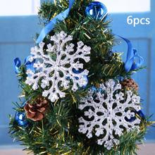 6pcs Transparent Coral Christmas Snowflake Scrapbooking Pendant Christmas Tree Decoration Ornament Xmas Gift(China)