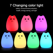 2017 Cute Cat Lamp Colorful Light Silicone Cat Night Lights 2 Modes Children Cute Night Lamp Bedroom Rechargeable Touch Sensor(China)