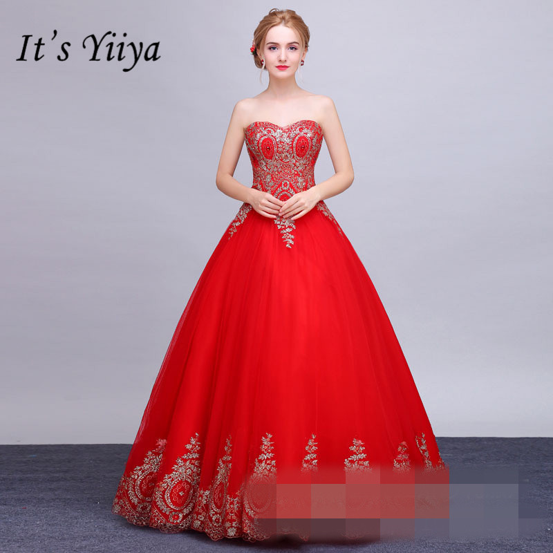 It's YiiYa Red Floor-length Wedding Dresses Strapless Brides Gowns Lace Up Vestidos De Novia Casamento HX032