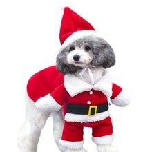gomaomi pet dog cat christmas clothes santa claus costume winter pet coat apparel dog suit with cap