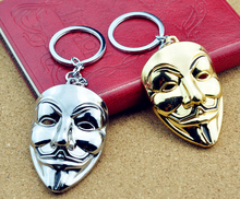 New Design Movie V for Vendetta keychain ANONYMOUS GUY Mask MetalCar Key Chain Key Ring Bag pendant For Man Women Gift #17102(China)