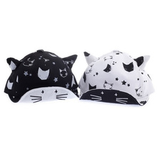 2017 Cat Baby Hat with Ears Cotton&Mesh Black White Children Boys Girls Hats Adjustable Baby Cap for 6-24 Months 1 PC