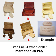 Full capacity Wooden USB Flash Drive Memory Stick + Packing Box pendrive 8GB 16GB 32GB pen drive LOGO customized wedding gift(China)
