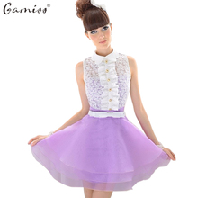 Gamiss Women Lace Organza Vintage Ball Gown Crochet Trun down collar Princess Girls' Feminino Vestidos Swing Party Dresses