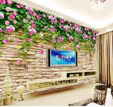 custom size mural photo 3d wallpaper living room rose culture stone 3d painting TV background non-woven wallpaper for wall 3d(China)