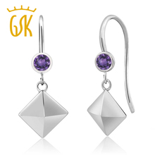 hot sell classics geometrical shape hooked eardrop 0.20 Ct Round Purple Amethyst 925 Sterling Silver Pyramid Earrings women gift