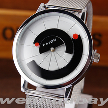 Paidu Unique Arc pointer Black/White Quartz Stainless Mesh Band Wrist Watch Mens Boy Turntable Dial Digital Gift Wristwatches(China)