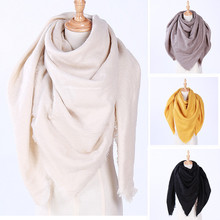 2018 New Fashion Winter Scarf For Women Triangle Warm Scarf shawls Women solid color Blanket faux Cashmere Scarves yellow black(China)