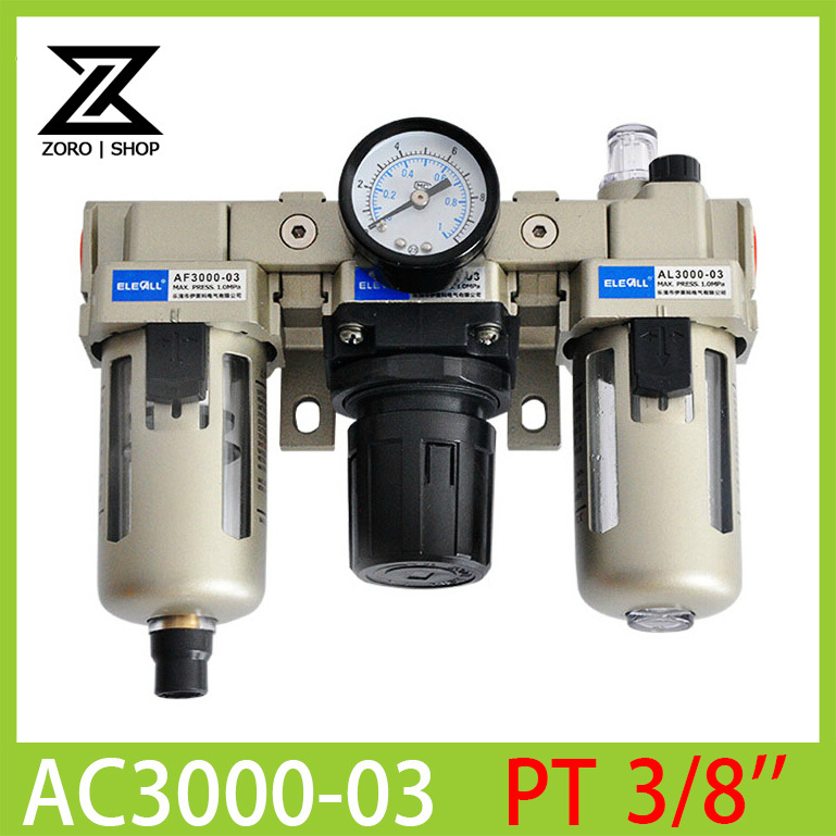 AC3000-03 3/8 Pneumatic FRL Air Filter Regulator Combination AF3000 + AR3000 + AL3000 Source Treatment Unit<br>