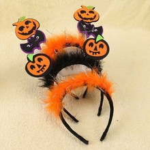 1 Piece 10*10CM Children's Halloween Hairbands Solid Villus with Pumpkins Bats Characters Handmade Original Kids' Headdress(China)
