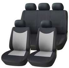 Universal Car Seat Covers Set (9 Pieces) Black/Grey Washable & Airbag Compatible Polyester Material Car Cases Car Accessories