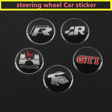 1PCS 45mm GTI R ABT Sticker Car Steering wheel sticker for VW Volkswagen A6 B5 B6 CC PASSAT GOLF