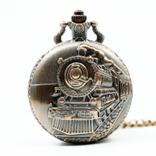 Antique Bronze Train Front Locomotive Engine Necklace Pendant Quartz Pocket Watch Men Women Gifts