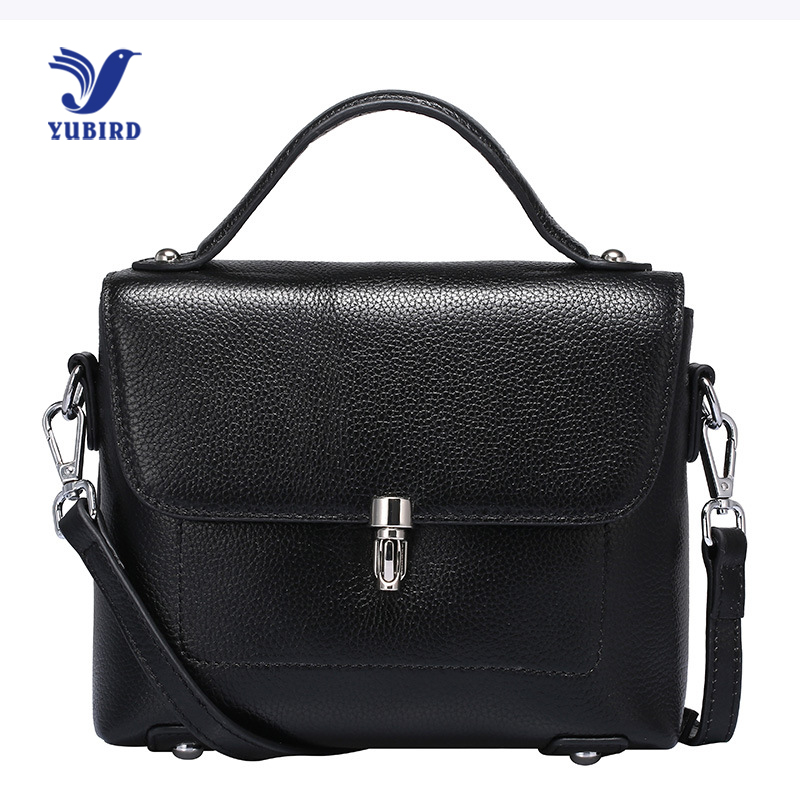 YUBIRD Natural Leather Bags Women Handbag Shoulder Bags Real Cow Leather Lady Handbag Buckle Lock bolso bandolera mujer negro<br>