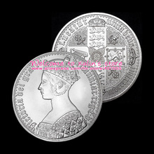 XDD0101B The British Queen Victoria Gothic Crown of 1847 Silver Coins 5 Pcs 1 OZ Silver Plated UK 1847 Gothic Crown