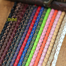 2Meter Muilt Color 3mm Round Genuine Braided Leather Jewelry Cord Cow leather Rope DIY Fashion Necklace Bracelet Findings(China)
