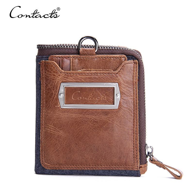 CONTACTS Men Brifold Wallet Cowboy Genuine Natural Crazy Horse Leather Wallets Brand Design Multi-Card Purses With Coin Pocket<br><br>Aliexpress