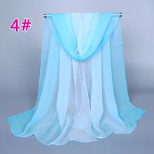 hot selling Women Spring Summer georgette Chiffon shawl Long Scarf hand painted gradient colors scarves