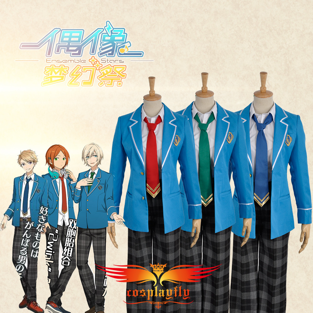 Ensemble Stars Tenshouin Eichi & Narukami Arashi & Aoi Yuta School Unifrom Cosplay Costume Top Jacket Pants Men Fashion Outfit