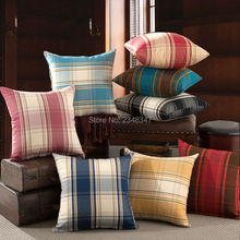 Quality Thick England British Style Plaid Decorative Pillow Covering Throw Sofa Seat Car Cushion Cover Black Red Blue PinkYellow