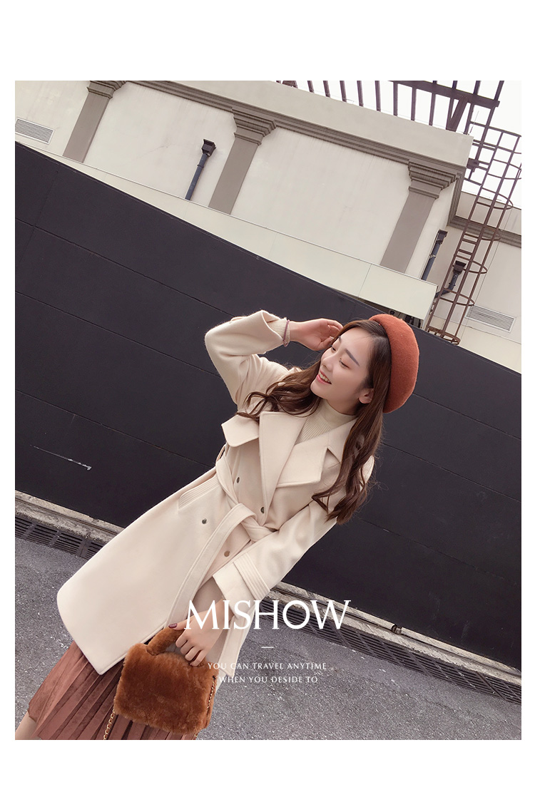 Mishow 19 autumn and winter woolen coat female Mid-Long New Korean temperament women's popular woolen coat MX17D9636 17