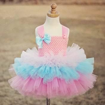 2015 New Girl TUTU Dress Bokwnot Gauze Tiered Princess Dress Girl Party Dress 2-8Y 13772<br><br>Aliexpress