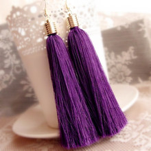 Buy Fashion Ethnic Dangle Earring Purple vintage Tassel Drop Earrings Women Gold Color Cotton Fringes Big Long Earring Jewelry for $1.03 in AliExpress store