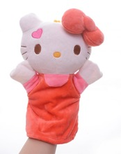 Soft Hello Kitty Hand Puppets PLush Red Skirt Dress Kitten Cat Kids Girls Baby Developmental Hand Puppet 10'' Brand New