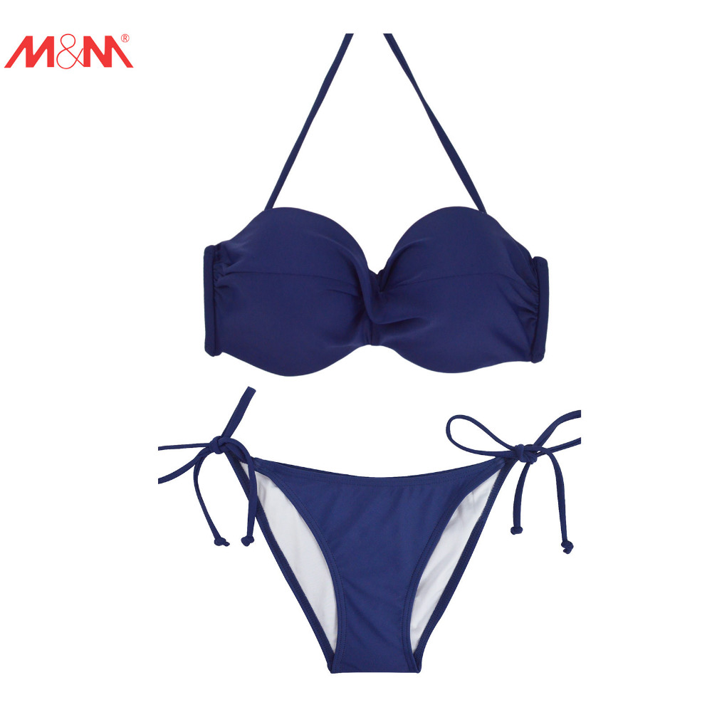 M&amp;M String Halter Bikini Set Pad Swimsuit Tie Side Women Sexy Push Up Elastic Waist Swimwear Pathcwork Tongs Bottom Bathing Suit<br><br>Aliexpress