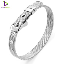 Hot Sale!! 8mm/ 10mm Stainless Steel Wristband Bracelet Fashion Accessory Fit for Slide Letters Charms High quality! LSBR01-02(China)
