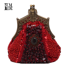 Women Evening Party Bags Luxury Beads Clutch Handmade Vintage Elegant Phone Purse Banquet Wedding dress Handbags Bridal Gifts
