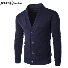 2017 New Arrival Men Solid Cardigan Mens Casual Sweater 4 Colors High Quality Pullover for men cardigan masculino(China)