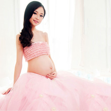 2 Pcs Elegant Pink Maternity Dress Photography Props Pregnancy Clothes Maternity Dresses For pregnant Women Photo Shoot Clothing(China)