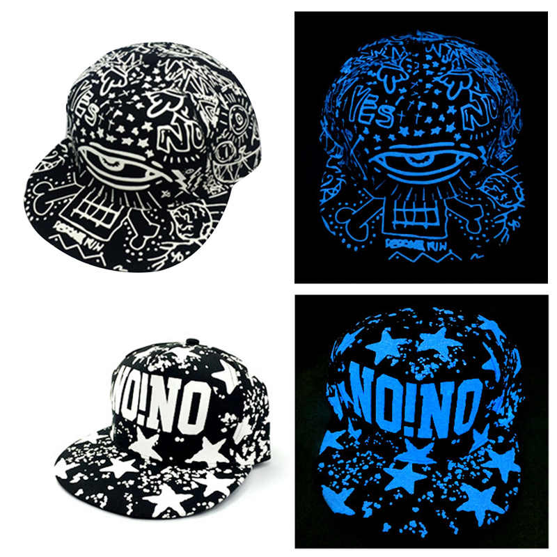 3ef19b94409 Detail Feedback Questions about Blue Fluorescent Baseball Caps Print Hip  Hop Cap Casquette for Women Men Sports Black Snapback Caps Skull Hats Glow  In The ...