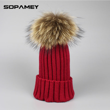 2017 Warm Hats for Women Winter Hat Fur Ball Knitted Skullies Beanies Fur Pom Poms Pretty Classic Knit Cap Lines Bone Gorras