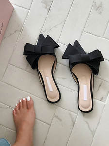 Women's Shoes Slippers Flat-Heel-Sets Satin Pointed Korean Summer And Silk Bow-Tie Baotou